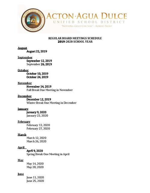 Board of Trustees Meeting Schedule